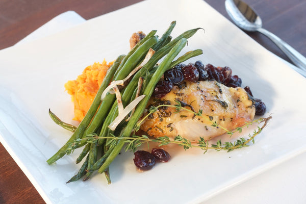 Roasted Chicken with Brie & Cherries, Mashed Sweet Potatoes, Roasted Haricot Verts (Delivered Monday, May 1)