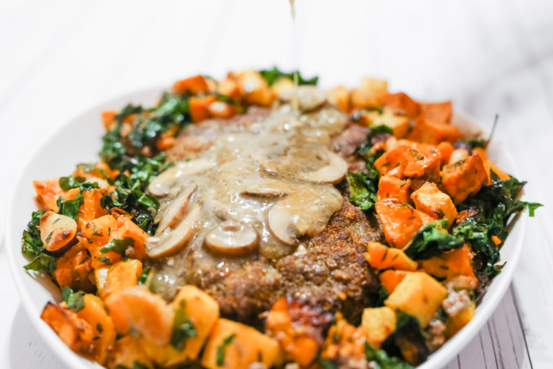 Homestyle Meatloaf with Roasted Root Vegetables, Sauteed Greens, and Mushroom Gravy