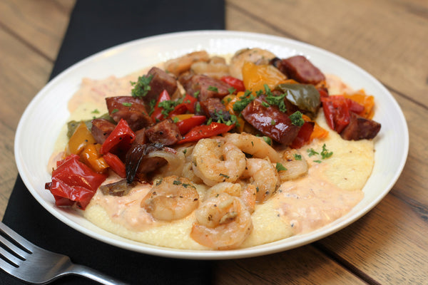 Shrimp and Grits with a Sherry Cream Sauce