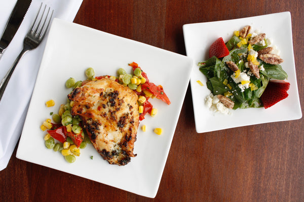 Southern Roasted Chicken with Succotash Saute and Spinach Salad with Strawberries