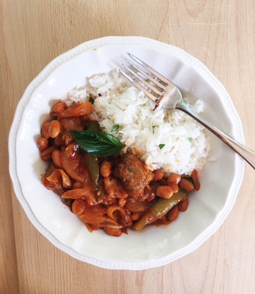Spicy Sausage with Basil Rice