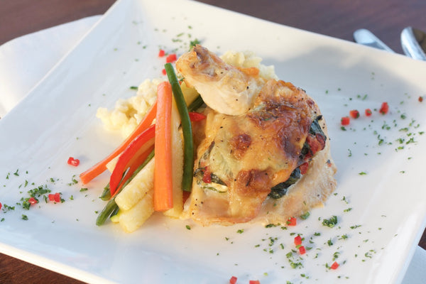 Spinach & Feta Stuffed Chicken with Risotto and Julienne Vegetables