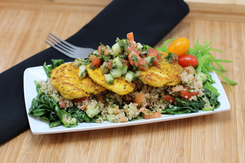 Sunshine Chicken over Mediterranean Quinoa (Traditional or Paleo/W30) Fresh Frozen
