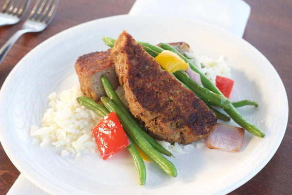 Tart Apple Turkey Meatloaf with Mashed Potatoes, Sauteed Green Beans with Tri-Colored Peppers