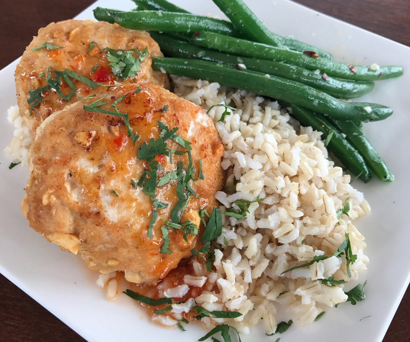 Thai Chicken and Peanut Cakes, Brown Rice, Sesame Roasted Green Beans