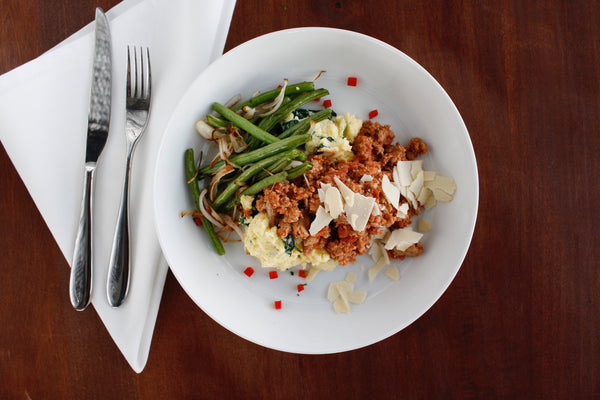 Turkey Bolognese with Spinach Polenta and Roasted Haricot Verts