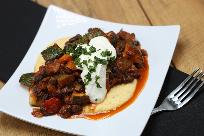 Veggie Chili over Cheesy Polenta