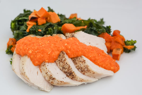 Roasted Chicken with Romesco Sauce over Sweet Potato & Kale Hash (Paleo/W30)
