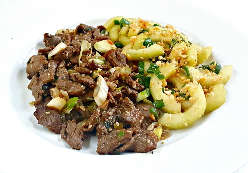 Recipe Kit: Korean Beef Bulgogi and Green Onions with Sesame Cucumber Salad (includes peanuts)