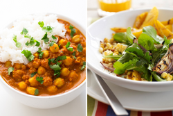 Chana Masala with Basmati Rice and Mango and Corn Salad with Curry Vinaigrette
