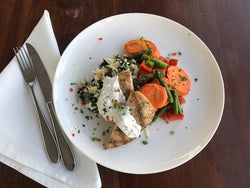 Coriander Crusted Chicken, Rice with Roasted Poblano, Spinach, and Feta, Spice Roasted Carrots, Peppers, and Asparagus
