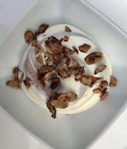 Marble Cheesecake Mousse with Cocoa Cinnamon Dusted Almonds (Sugar Free)