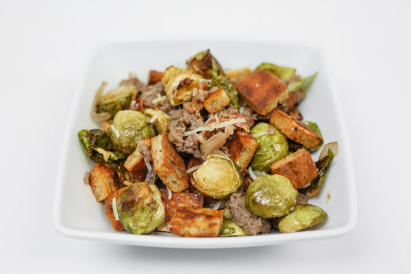 Savory Turkey Sausage Hash with Croutons, Brussel Sprouts,  Shallots, & Bacon