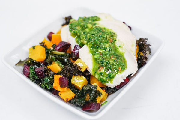 Harvest Bowls with Roasted Chicken, Roasted Beets, Roasted Butternut, Roasted Kale, and Almond Basil Pesto (Paleo/W30)