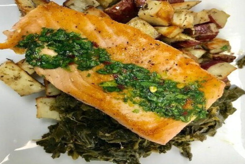 Atlantic Salmon with Chimichurri, Potatoes, & Garlic Greens