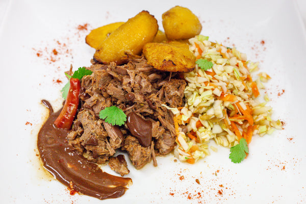 Braised Steak Mole w/ Roasted Plantains & Mex. Slaw