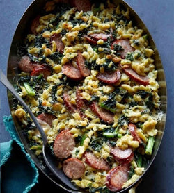 Recipe Kit: Sausage, Kale, & Spaetzle Bake with Watercress Pesto