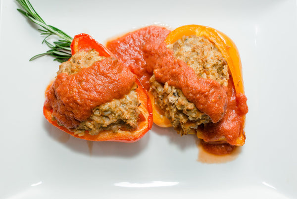Vegan Black Bean & Brown Rice Stuffed Bell Peppers with House Marinara
