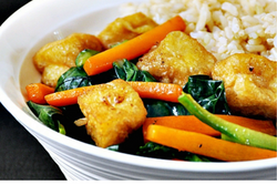 Vegetable Coconut Curry, Stir Fried Crispy Tofu, Brown Rice