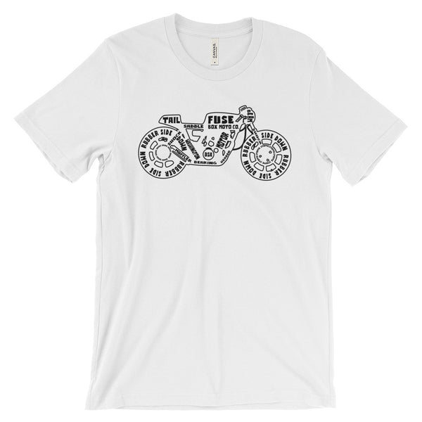White Fuse Box Shirt with Words Unisex short sleeve t-shirt