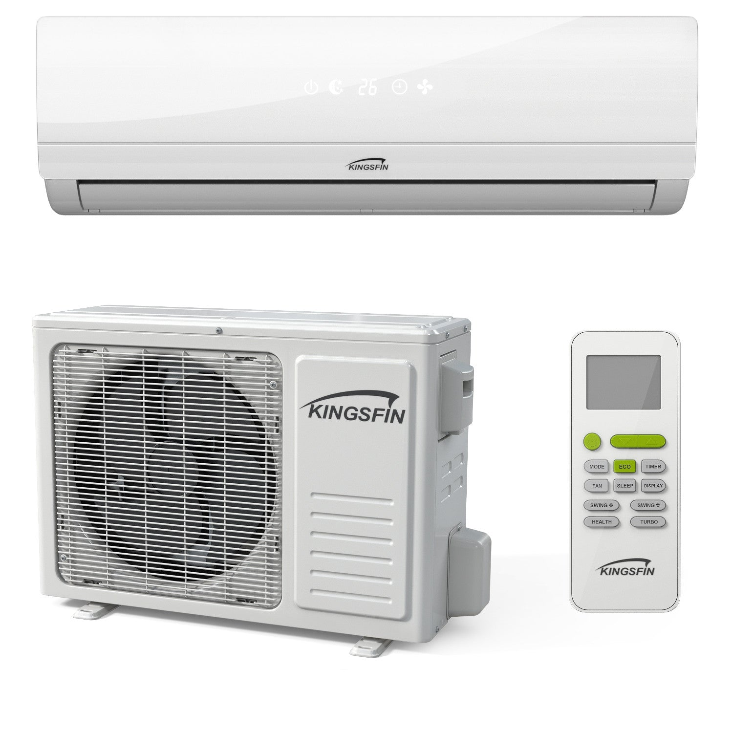KINGSFIN Mini Split Ductless AC Air Conditioner and Heat Pump 15/18 SEER  Complete System