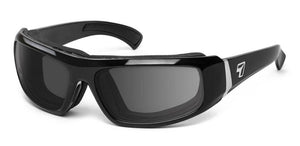 7eye panoptx motorcycle dry eye eyewear bali sunglasses glossy black gray lens profile view