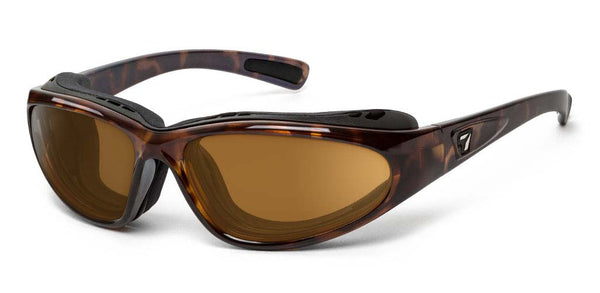 7eye panoptx motorcycle ansi z87.1 safety eyewear bora sunglasses tortoise copper lens profile view