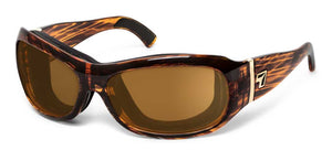 7eye panoptx motorcycle ansi z87.1 safety eyewear briza sunglasses tortoise copper lens profile view