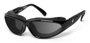 7eye panoptx motorcycle safety ansi z87.1 eyewear cape sunglasses glossy black gray lenses profile view
