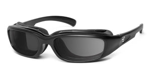 7eye panoptx motorcycle eyewear churada sunglasses matte black gray lenses profile view