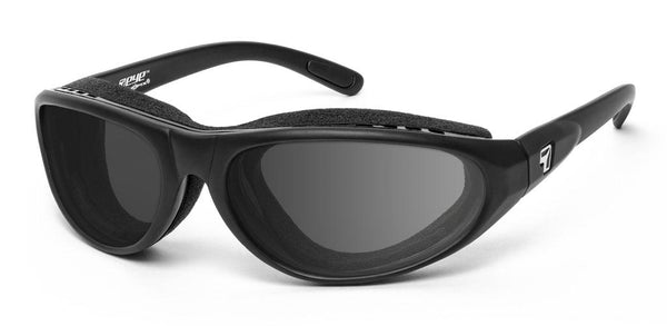 7eye panoptx motorcycle eyewear cyclone sunglasses matte black gray lenses profile view