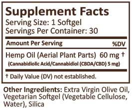 PlusCBD Oil Softgels 5mg - Raw - 30 or 60 Count