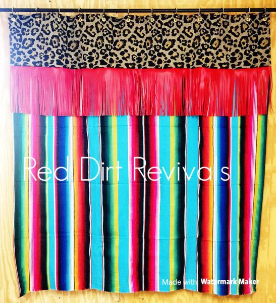 Turquoise Red Fiesta Shower Curtain