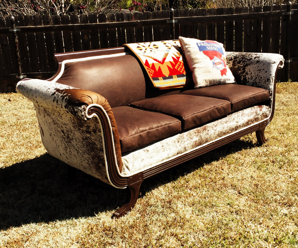 ... Vintage Cowhide/Leather Sofa (SOLD) ...