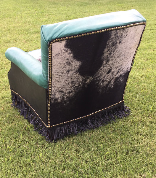 Teal Leather Accent Chairs: SOLD Teal/Cowhide Leather Accent Chair