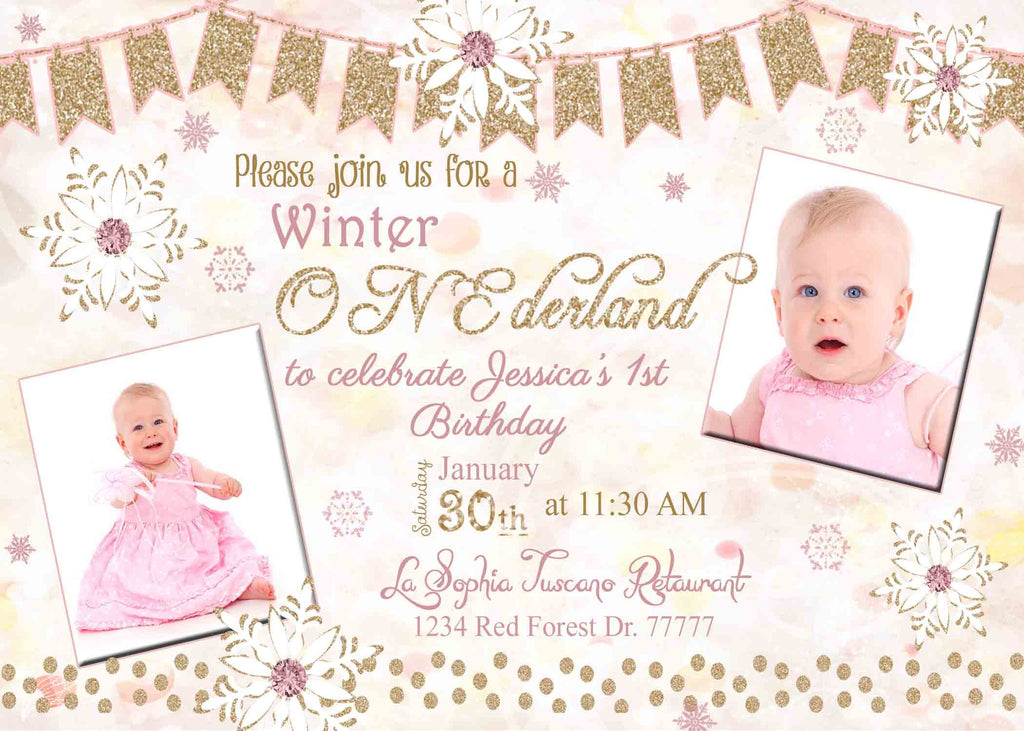 onederland pink bokeh 1st birthday girl invitation custom