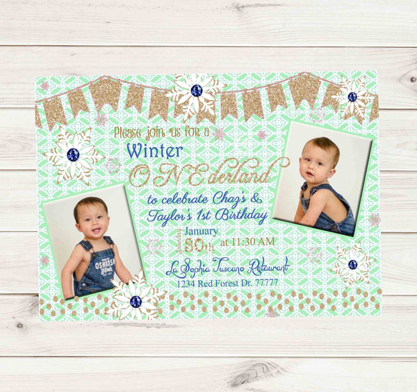 Onederland Green 1st Birthday Twin Boy and Girl Invitation - Custom Printable