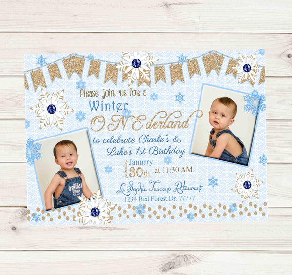 Onederland Blue 1st Birthday Boy Invitation - Custom Printable