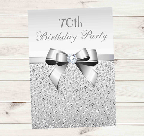 Silver Invitation for 50th 70th or 90th Birthday - I can change the wording for any event - Custom Order