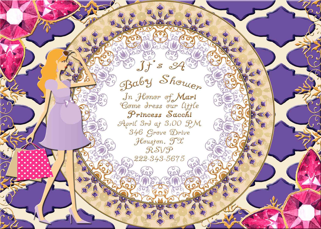 Moroccan Indian Jewels Blond Haired Pregnant Lady Baby Shower Invitation - Custom Printable