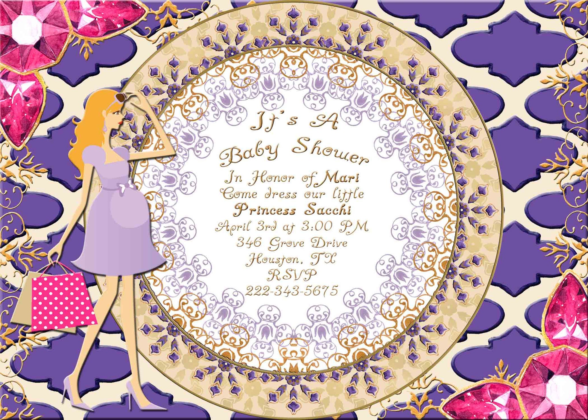 Moroccan Indian Jewels Blond Haired Pregnant Lady Baby Shower Invitation - Custom Printable - Invites and Delites