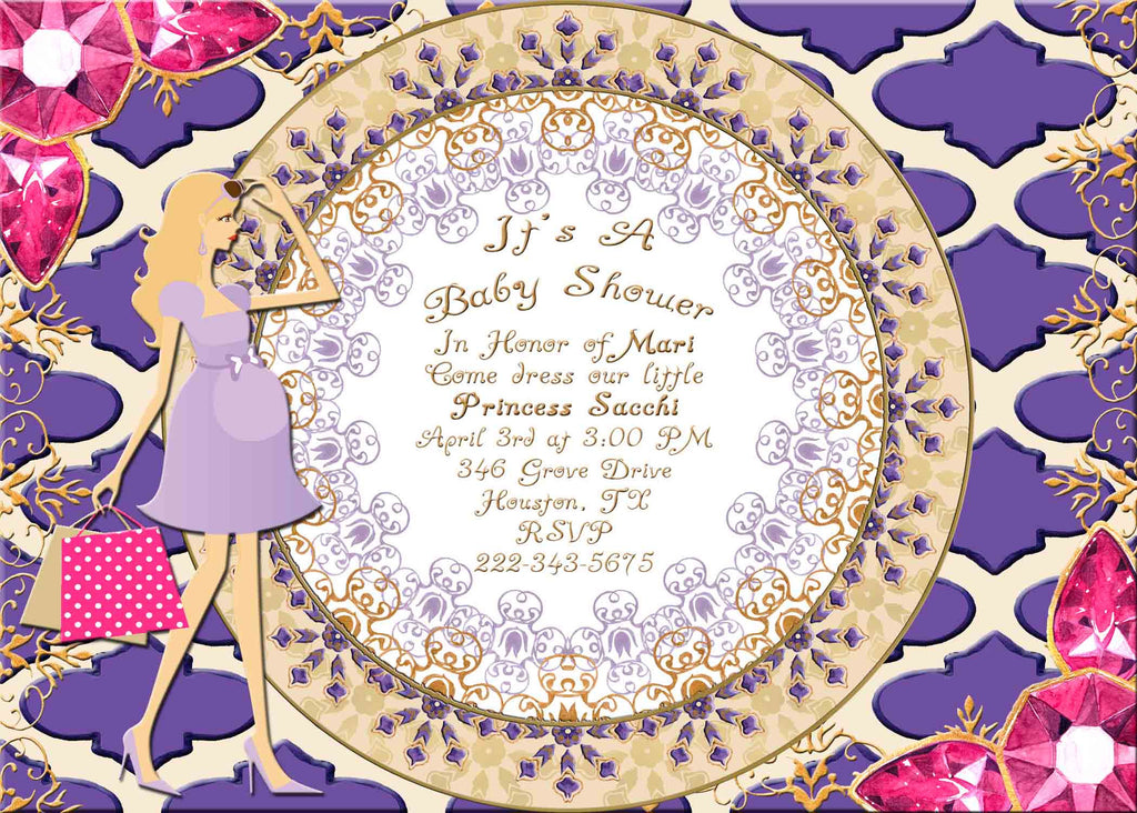 Moroccan Indian Jewels Blond Lite Haired Pregnant Lady Baby Shower Invitation - Custom Printable - Invites and Delites