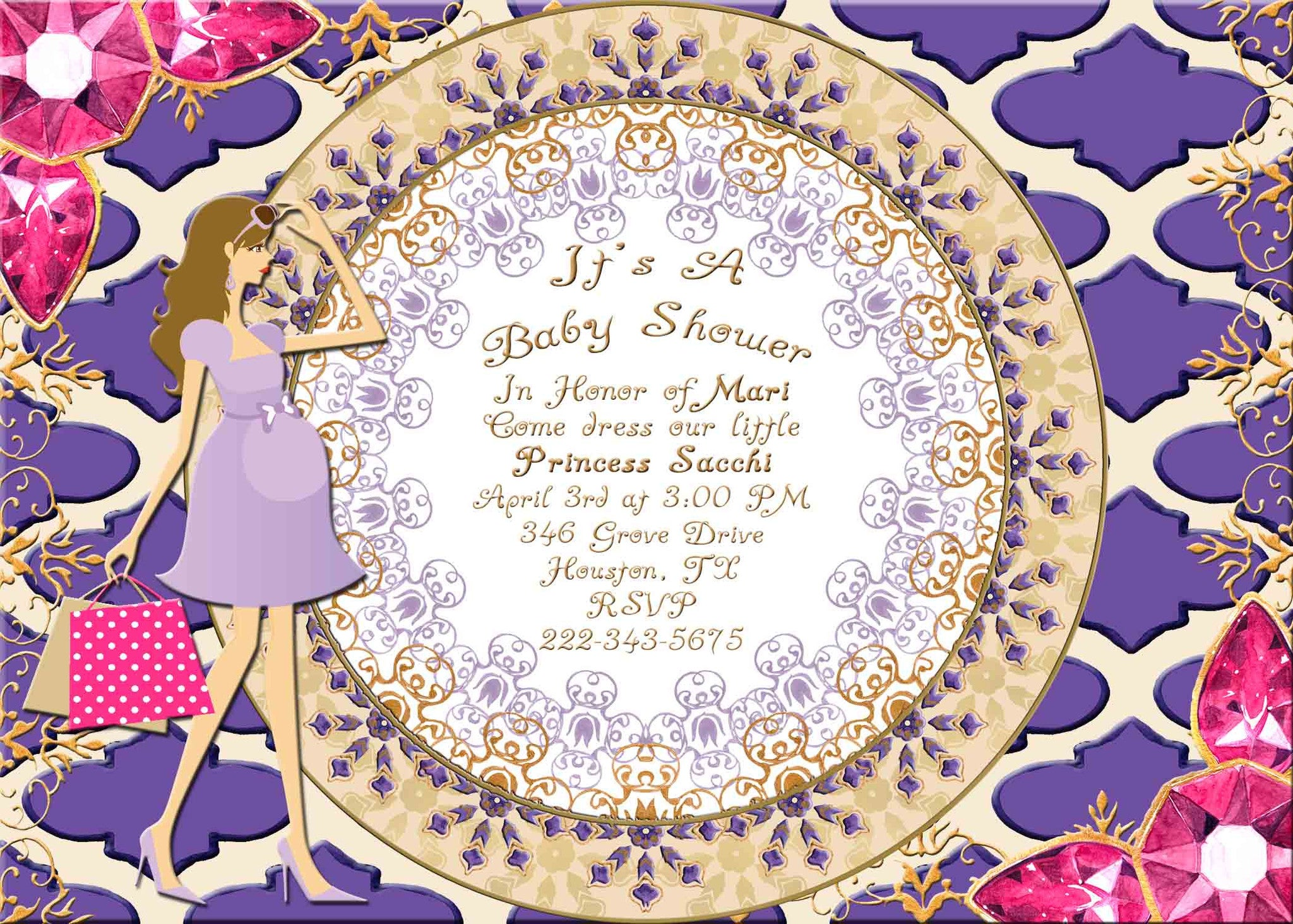 Moroccan Indian Jewels Brunette Haired Pregnant Lady Baby Shower Invitation - Custom Printable - Invites and Delites