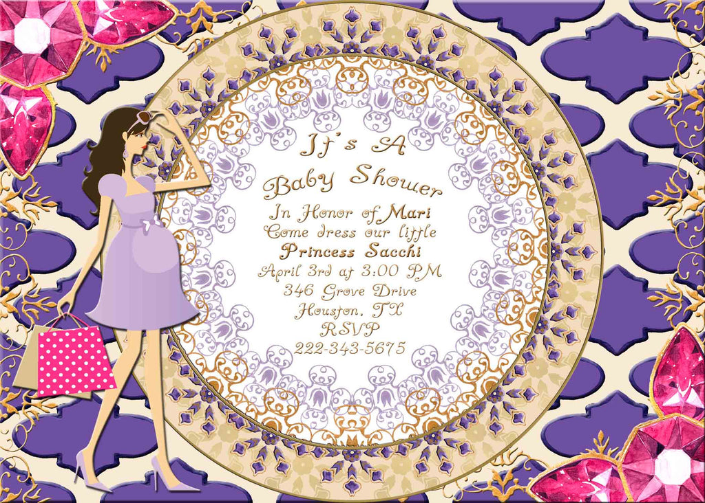 Moroccan Indian Jewels Dark Brown Haired Pregnant Lady Baby Shower Invitation - Custom Printable - Invites and Delites
