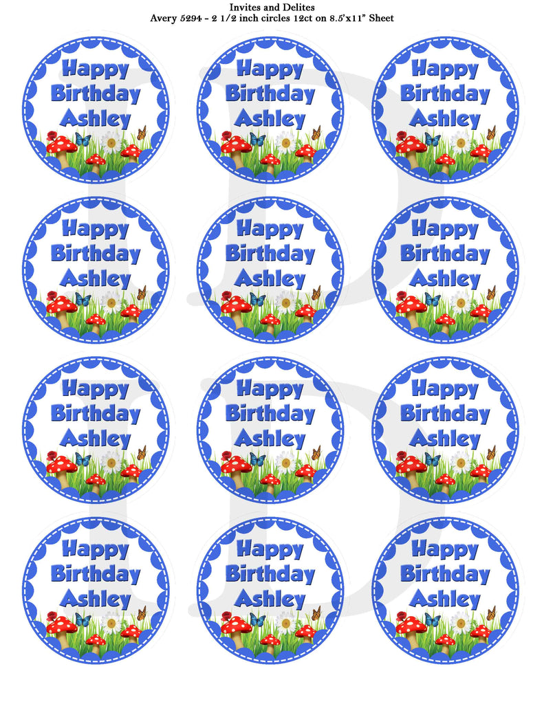 Royal Blue Garden 2.5 inch labels that can be filled in with your information - Custom Order - Invites and Delites