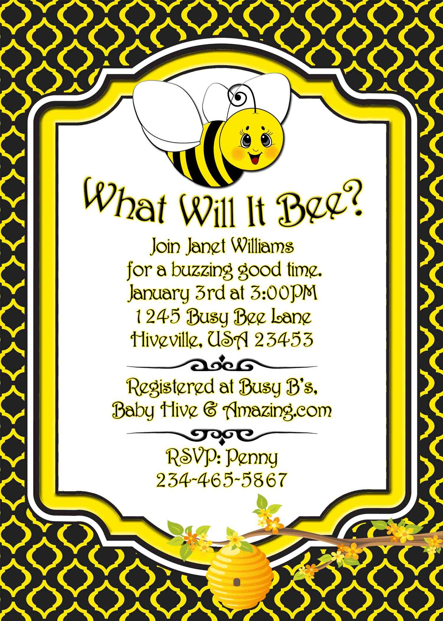 Mom to Bee Baby Bay Bee Bumble Bee Honey Baby Shower Invitation - Printed or File