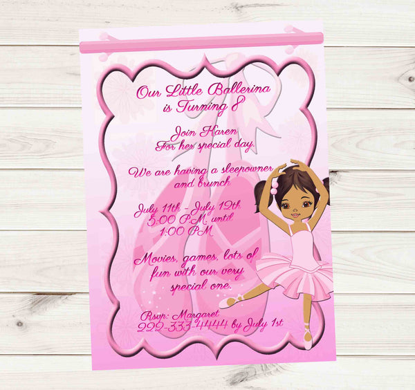 Beautiful Black Ballerina Dancing with Ballet Shoes and Tutu Birthday Invitation - Custom Printable