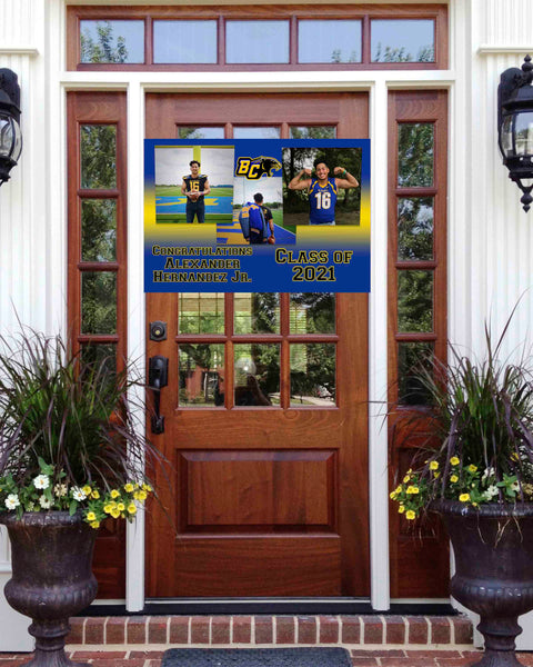 Football Graduation 3 Photo Front Door Banner 2ft x 3ft File or Printed Banner - Free Shipping