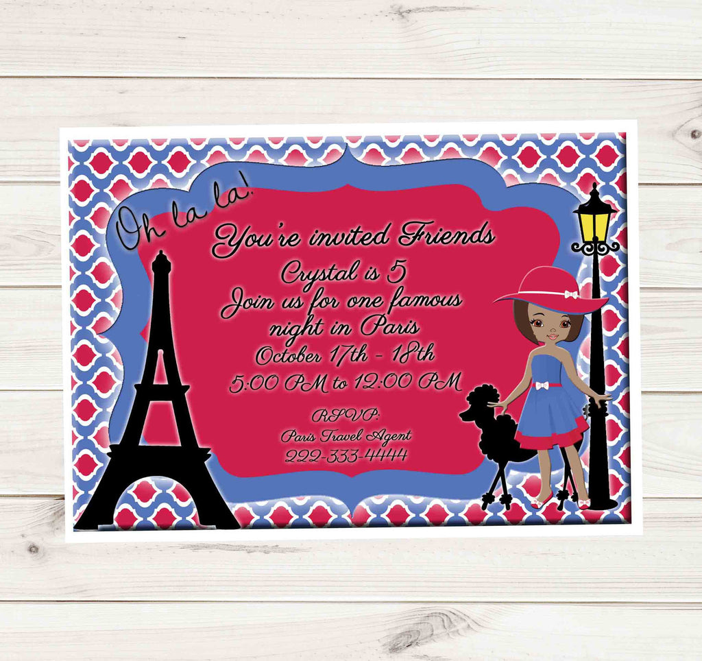 Paris Eiffel Tower Romantic African American Girl Birthday Party ...