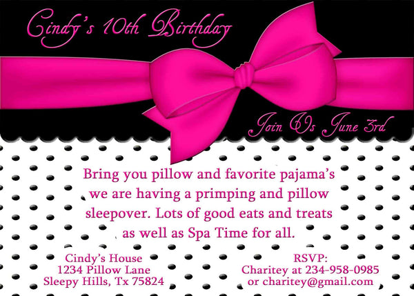 Slumber Party Hot Pink Bow Black and White Polka Dot Sleepover Birthday Invitation - Custom Order - Invites and Delites